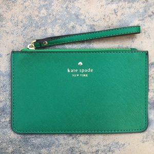 NWT Kate Spade Green Wristlet Wallet